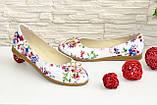 Женские туфли, из натуральной кожи с цветочным принтом, на низком ходу, фото 5