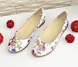 Женские туфли, из натуральной кожи с цветочным принтом, на низком ходу, фото 6