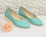 Женские кожаные туфли с заостренным носком, декорированы фурнитурой. Цвет мята., фото 3