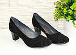 """Туфли черные женские замшевые на каблуке с плетением. ТМ """"Maestro"""", фото 2"""