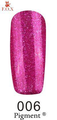 Гель-лак F.O.X 006 Pigment лиловый с блестками, 6 мл