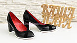 Туфли женские классические на каблуке, декорированы замшевыми вставками., фото 3