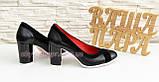 Туфли женские классические на каблуке, декорированы замшевыми вставками., фото 4