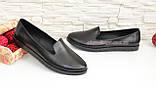 Туфли-мокасины женские кожаные на утолщенной черной подошве. Цвет черный., фото 3