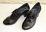 """Туфли женские кожаные черные на устойчивом каблуке. ТМ """"Maestro"""", фото 3"""