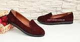 Туфли-мокасины женские замшевые на утолщенной черной подошве. Цвет бордовый, фото 2