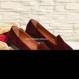 Туфли-мокасины женские замшевые на утолщенной черной подошве. Цвет бордовый, фото 3