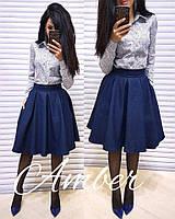 Женская рубашка и джинсовая-юбка-солнце миди (расцветки), в продаже отдельно