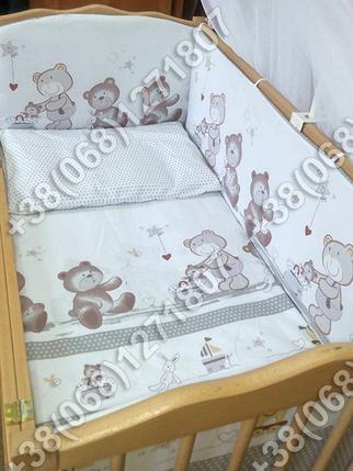Детское постельное белье и защита (бортик) в детскую кроватку Мишка горошек серый, фото 2