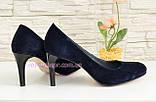 Туфли женские классические замшевые синие на шпильке! , фото 3