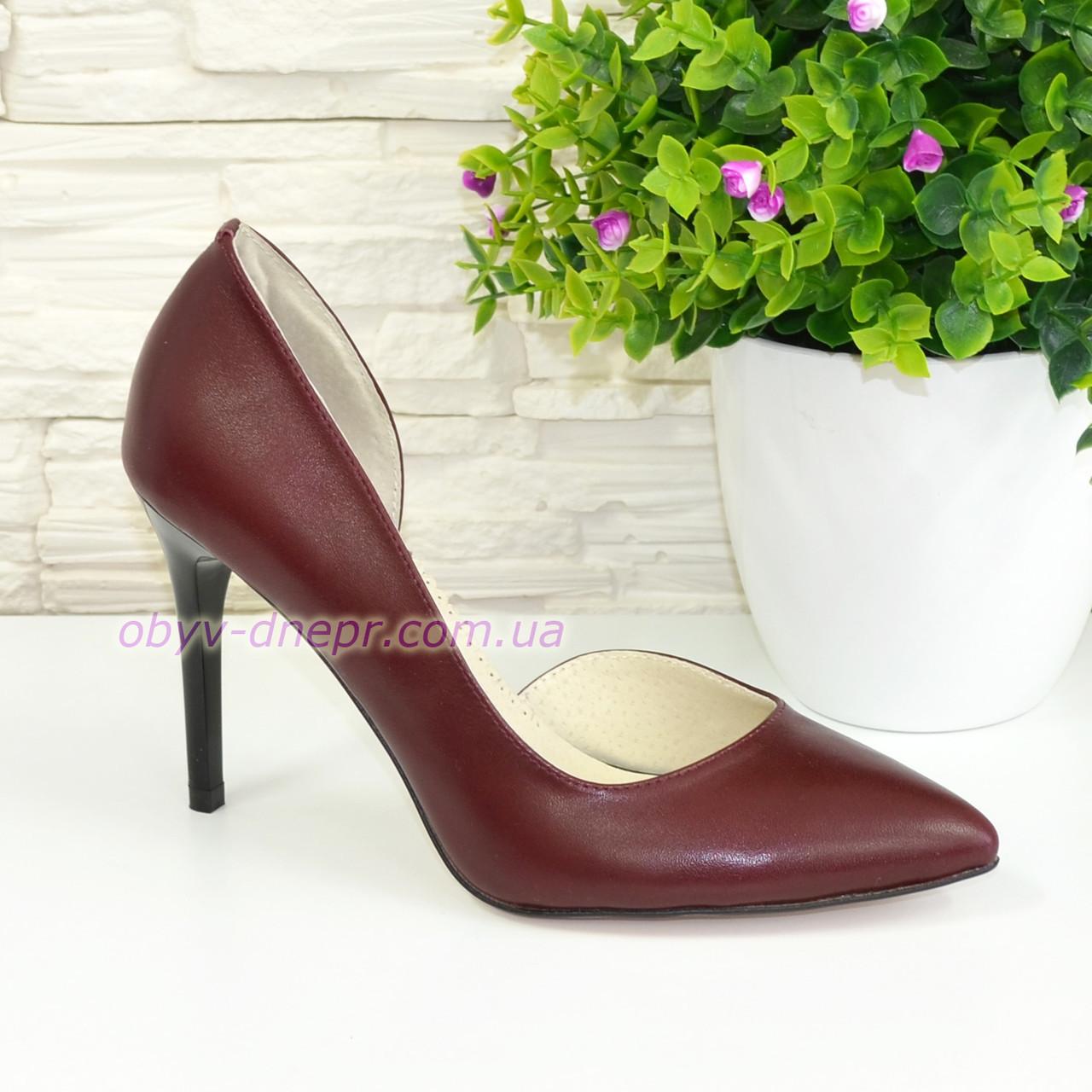 Туфли стильные женские на шпильке, натуральная кожа бордового цвета