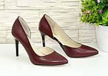 Туфли стильные женские на шпильке, натуральная кожа бордового цвета, фото 2