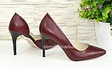 Туфли стильные женские на шпильке, натуральная кожа бордового цвета, фото 3