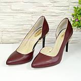Туфли стильные женские на шпильке, натуральная кожа бордового цвета, фото 4