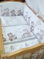 Детское постельное белье в кроватку, постельный комплект Мишка горошек серый