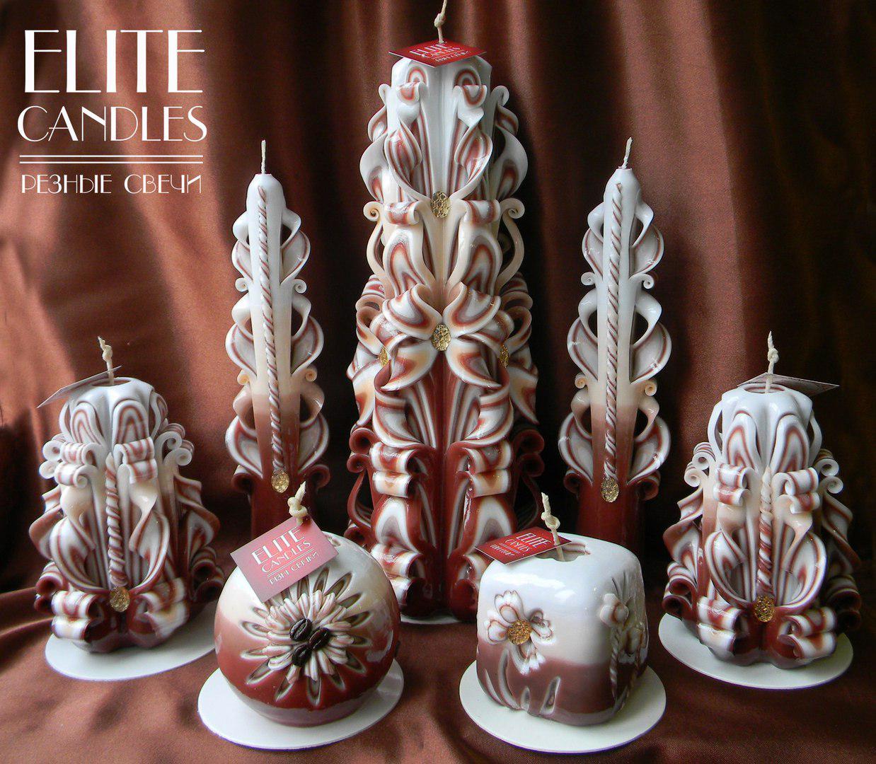 Кофейные резные свечи, красивый набор ручной работы.