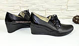 """Туфли женские кожаные черные на танкетке. ТМ """"Maestro"""", фото 3"""