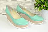 """Туфли женские мятные кожаные на устойчивой платформе. ТМ """"Maestro"""", фото 2"""