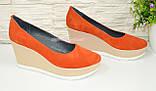"""Туфли женские оранжевые замшевые на устойчивой платформе. ТМ """"Maestro"""", фото 2"""