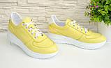 Туфли женские кожаные на утолщенной белой подошве, цвет желтый., фото 2