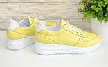 Туфли женские кожаные на утолщенной белой подошве, цвет желтый., фото 3
