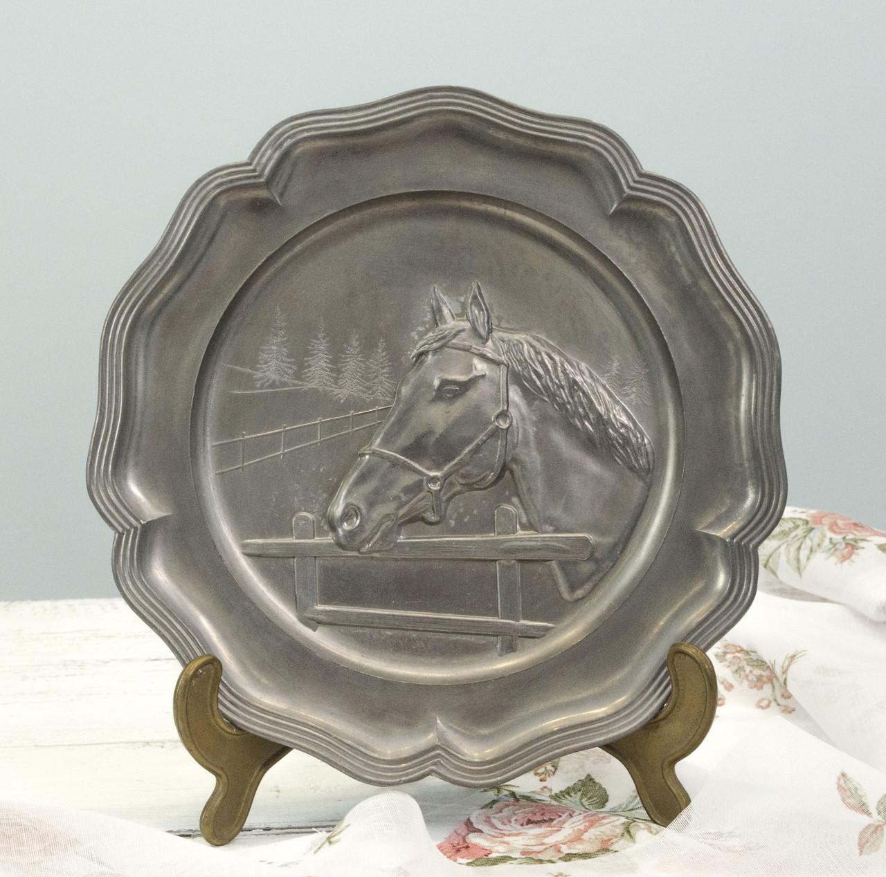 Настенная оловянная тарелка, пищевое олово, Германия, Лошадь
