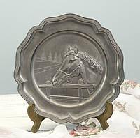 Настенная оловянная тарелка, пищевое олово, Германия, Лошадь, фото 1