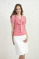 Летняя блуза из шифона с коротким рукавом розового цвета с бантом. Модель 305 Mirabelle