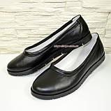 Туфли-балетки женские кожаные черные на утолщенной подошве, фото 4