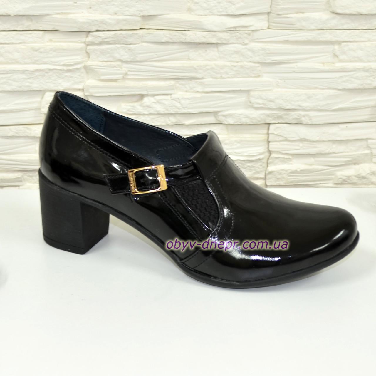 Туфли женские черные на невысоком каблуке, натуральная лаковая кожа.
