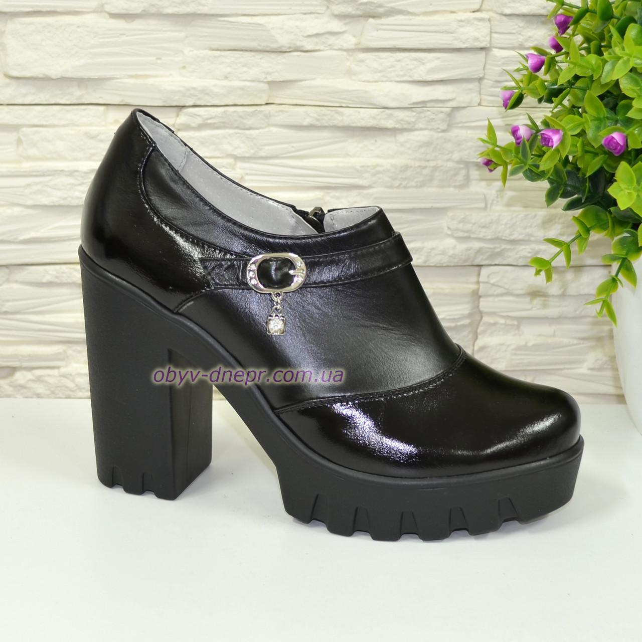 Туфли женские на тракторной подошве, натуральная кожа и лаковые кожа.