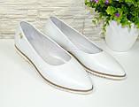 Туфли-балетки женские белые кожаные с заостренным носком., фото 5