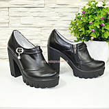Туфли женские на тракторной подошве, натуральная черная кожа., фото 2