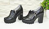 Туфли женские на тракторной подошве, натуральная черная кожа., фото 3