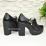 Туфли женские на тракторной подошве, натуральная черная кожа., фото 4