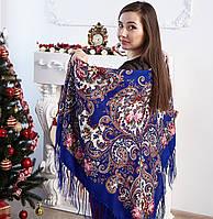 Красивий жіночий хустку синього кольору (120х120см, синій, 80%-шерсть), фото 1
