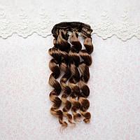 Волосы для кукол кудри в трессах, омбре каштан - 15 см