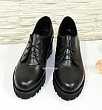 Женские кожаные туфли на невысоком устойчивом каблуке, фото 5