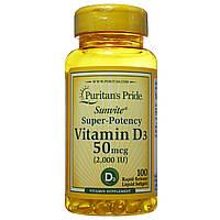 Витамин Д3 Холекальциферол, 2000 МЕ, Puritan's Pride, 100 капсул
