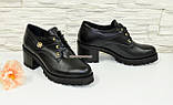 Туфли женские кожаные на шнуровке, декорированы фурнитурой, фото 2