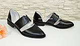 Стильные женские кожаные туфли на низком ходу, фото 2