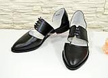 Стильные женские кожаные туфли на низком ходу, фото 4
