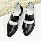Стильные женские кожаные туфли на низком ходу, фото 5