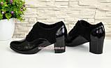 Туфли женские на устойчивом каблуке, натуральная замша и лак., фото 4