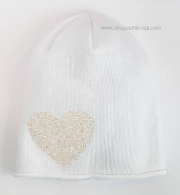 Хлопковая шапочка для девочки Сердце белого цвета
