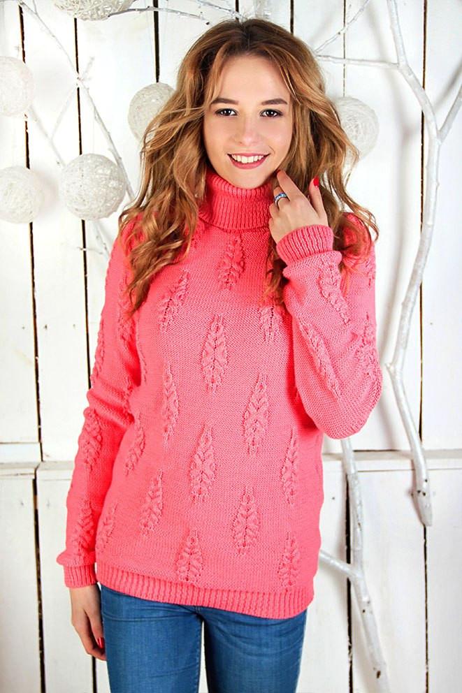 """Теплий жіночий светр """"Коси"""". Корал"""