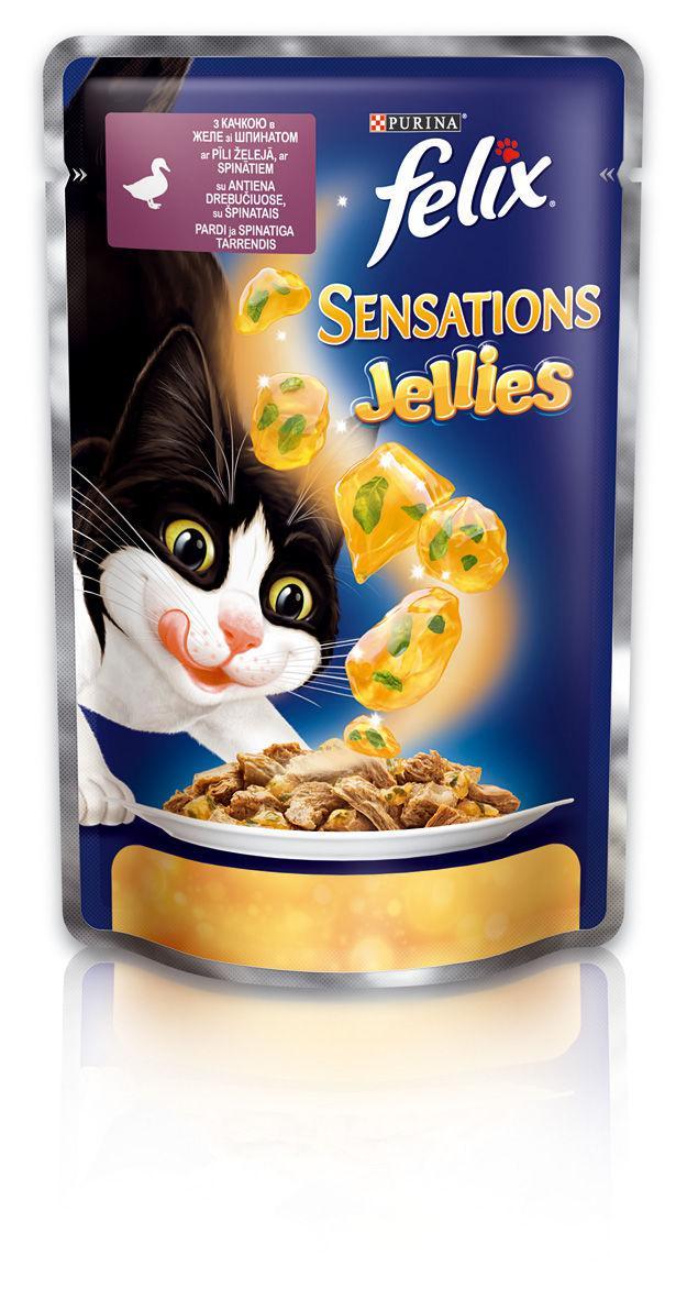 Консервы для кошек с уткой и шпинатом  FELIX Sensations, 20*100 гр