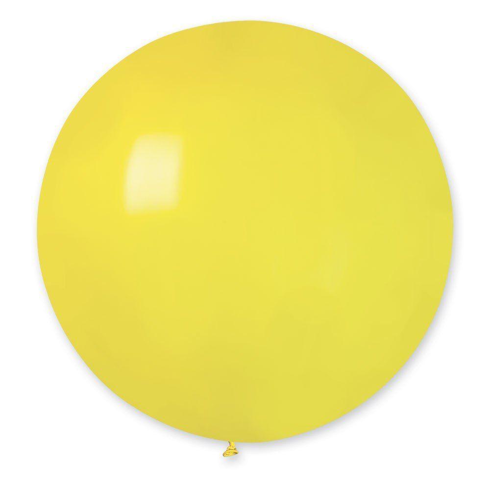 Повітряні кулі латексні G220_02 Gemar Італія, колір: пастель жовтий, Діаметр 31 дюйм/80 см, 1 штука