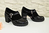 Женские черные замшевые туфли на невысоком каблуке, фото 2