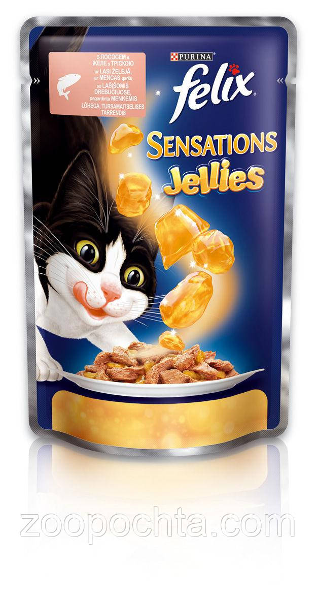 Консервы  для кошек с лососем и треской FELIX Sensations,  20*100 гр